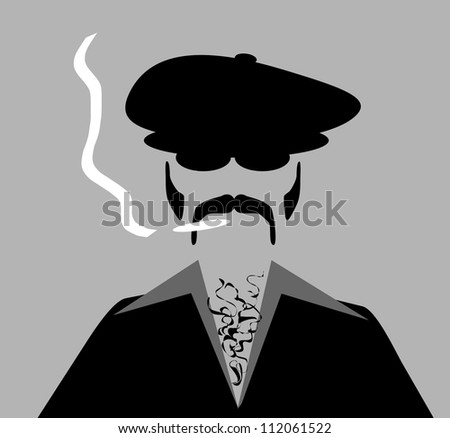 raster illustration of man with retro style clothing and hat smoking marijuana cigarette - stock photo