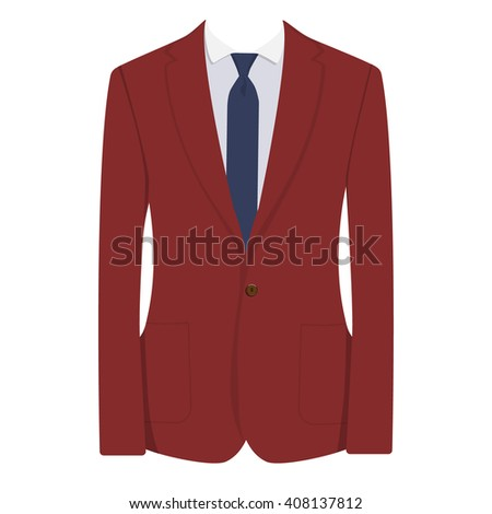 Raster illustration of red, bordo man suit with blue tie and white shirt isolated on white background. Business suit, business, mens suit, man in suit