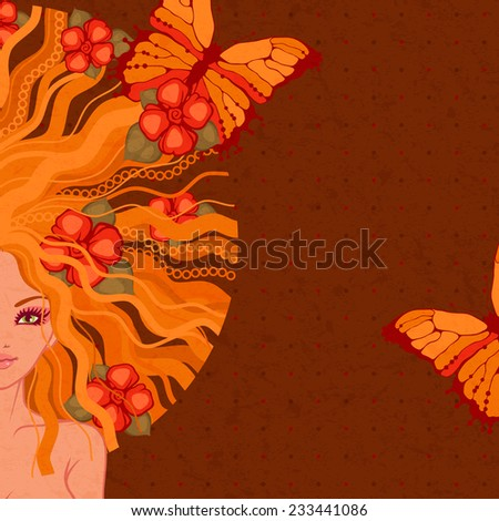 raster illustration of the girl with flowers and butterflies on a dark background - stock photo