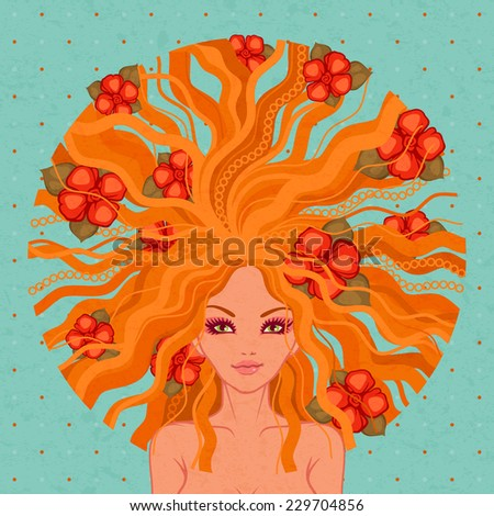 raster illustration of the young beautiful girl with red flowers - stock photo