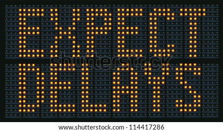 Raster Illustration Of Urban Traffic Congestion Sign Saying Expect Delays - stock photo