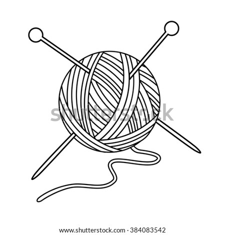 Vector Illustration Outline Drawing Yarn Ball Stock Vector ...