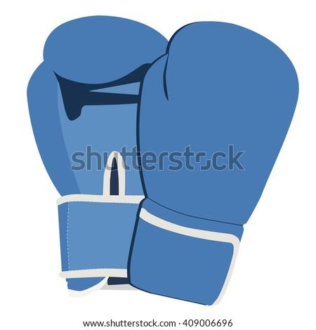 Raster illustration pair of blue boxing gloves isolated on white background. Sport equipment - stock photo