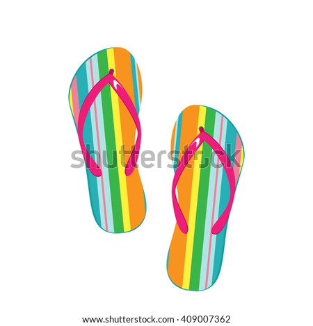 Raster illustration pair of colorful flip flops. Beach slippers icon