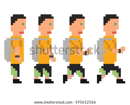 raster illustration - pixel art style drawing of person in yellow t-shirt and shorts running or walking sprite, isolated 8 bit on white background