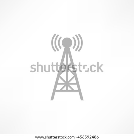 raster illustration radio antenna wireless. Technology and network signal radio antenna. Wave tower radio antenna. - stock photo