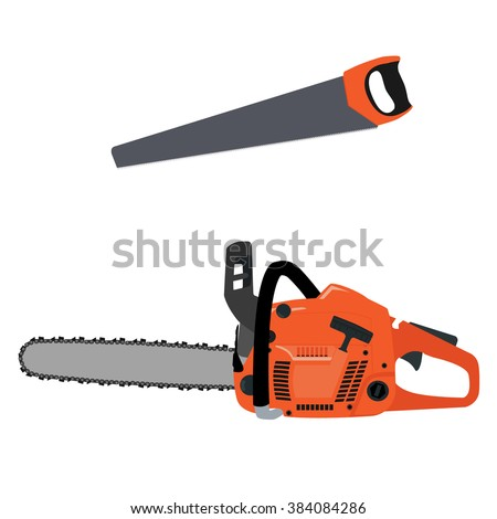 Raster illustration realistic chainsaw and hand saw. Petrol chain saw. Professional instrument, working tool. Chainsaw icon