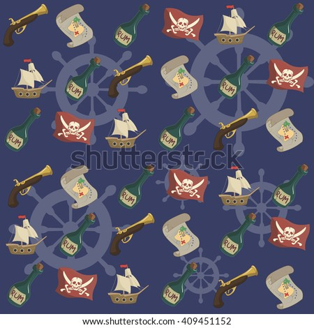 Raster illustration. Seamless pattern: pirate set. Rum, map, gun, pirate flag, ship