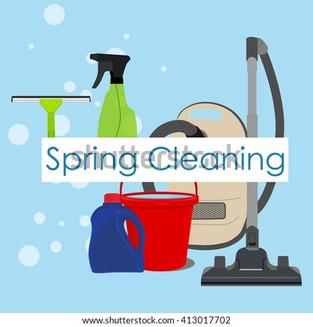 Raster illustration spring cleaning with cleaning equipment. Housework appliance - bucket, vacuum cleaner, bottle, spray and window squeegee. Spring cleaning background, card - stock photo