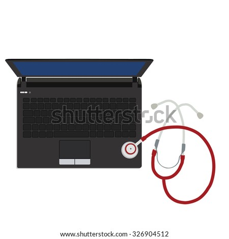 raster illustration stethoscope repair laptop. Laptop top view. Computer viruses concept. Find Virus with stethoscope computer icon symbol. Security scan.  - stock photo