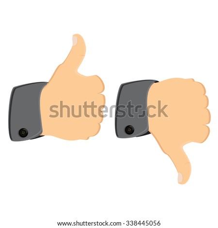 raster illustration thumb up thumb down. Like and dislike symbol concept  - stock photo