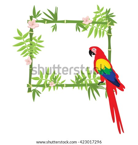 Raster illustration tropical island frame, border, poster with exotic flowers, plants and birds. Bamboo frame. Macaw parrot - stock photo