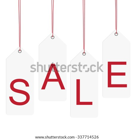 raster illustration white hanging sales tags with red text sale. Sale labels. Price sticker - stock photo