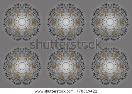 Raster illustration. Winter pattern made of snowflake on gray, brown and beige colors. Flat lay. Winter concept.