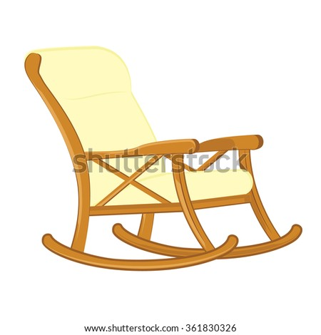 ... illustration wooden rocking chair with soft seat. Rocking chair icon