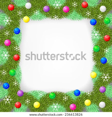 Raster illustrations of  Christmas frame for congratulations of fir branch decorated multicolor balls and snowflakes