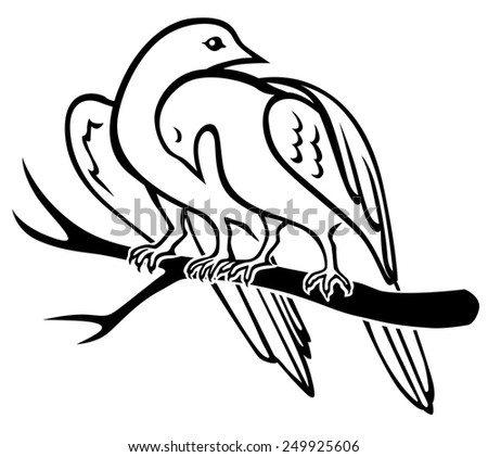 Raster illustrations of contour of pair birds sitting on a branch and hugs - stock photo