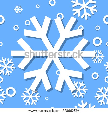 Raster image of Seamless pattern winter 2015 with snowflakes - stock photo