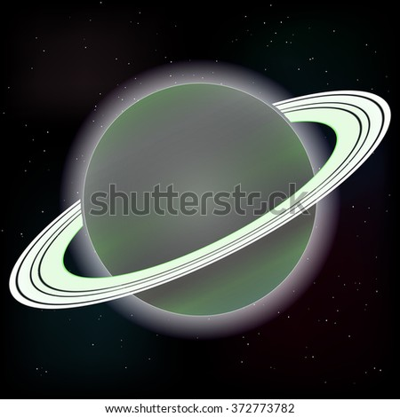 Raster image. Saturn planet on stars 3 - stock photo