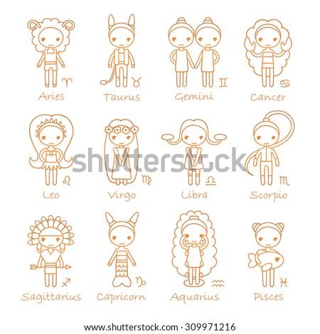 raster isolated hand drawing zodiac signs Aries, Taurus, Gemini, Cancer, Leo, Virgo, Libra, Scorpio, Sagittarius, Capricorn, Aquarius and Pisces - stock photo