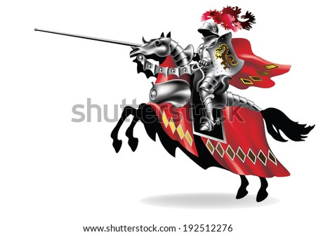 Raster, Knight with lance on horse on white background right - toning in robes - stock photo