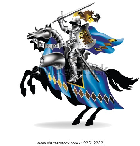 Raster, Knight with sword on horse on white background - toned in robes - stock photo