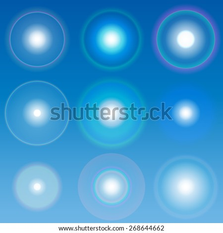 Raster lens flares Set collection 1 - stock photo