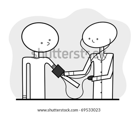 Raster - Line drawn medical illustration, featuring a generic nurse or doctor taking a patient's blood pressure, in a neutral color scheme. - stock photo