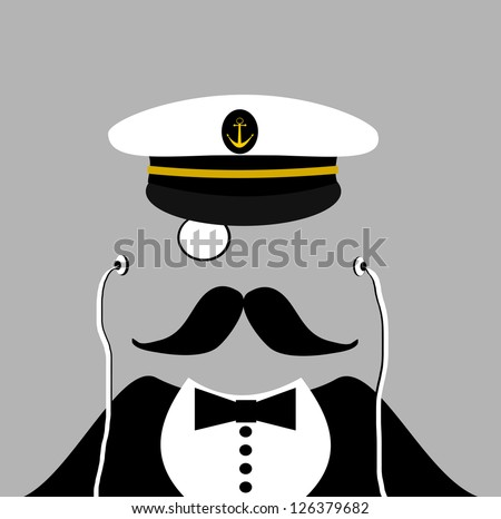 raster man with sailor hat and monocle - stock photo