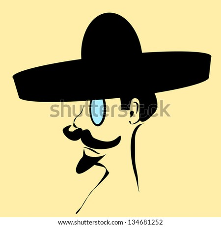 raster man with sombrero and monocle - stock photo