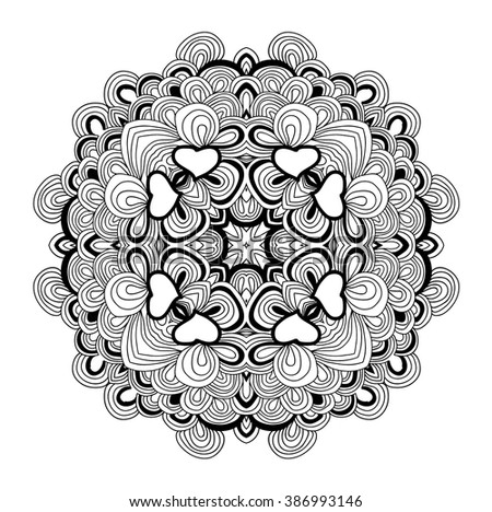 Raster mandala for coloring. adult coloring book. Can be used as card, yoga sign, invitation.