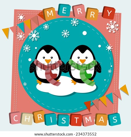 Raster Merry Christmas and happy new year childish scrapbooking card with text, childish stylized image of two pinguins in  scarf. Can be used as Christmas party invitation - stock photo