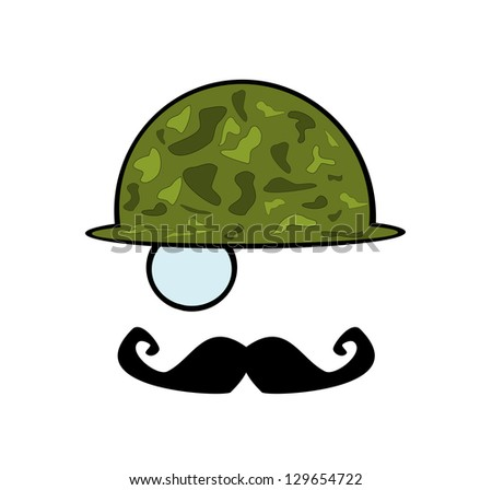 raster military man with monocle andf mustache - stock photo