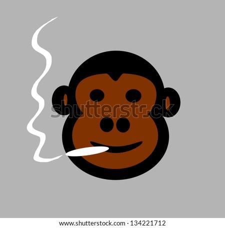 raster monkey smoking - stock photo