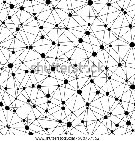 Raster monochrome seamless pattern, abstract geometric background with linear triangles & circles. Illustration of atomic structure, net. Design for tileable print, wallpaper, fabric, textile, web