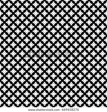 Raster monochrome seamless pattern, simple geometric texture, white figures on black backdrop. Abstract repeat background for tileable print. Design for decoration, textile, fabric, cloth, digital