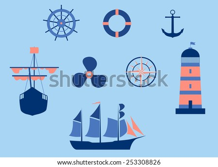 Raster Nautical Elements Flat Design - stock photo