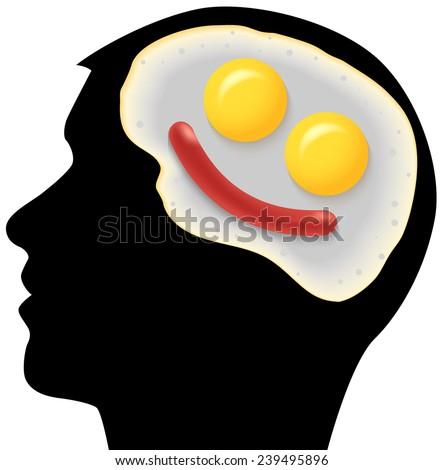 Raster Neurogastronomy Concept on White Background - stock photo