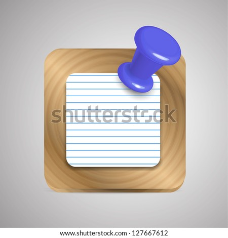 Raster notebook / reminder application icon - stock photo