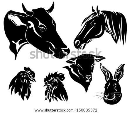 raster - on the farm design set - black and white animals - stock photo