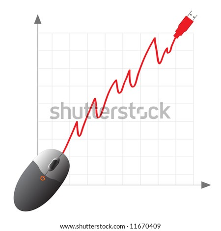 Raster - Online shopping ecommerce concept with mouse showing increase in profits. - stock photo