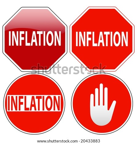 Raster pack of stop signs isolated on pure white (new glossy vs old one color) - stock photo
