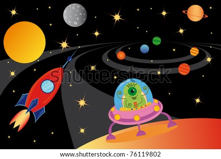 Raster picture with alien in the spaceship in the universe - stock photo