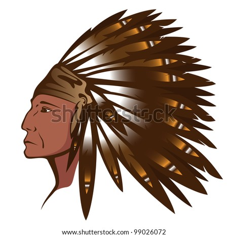 raster - Red Indian chief wearing traditional feather headdress (vector version is available in my portfolio) - stock photo