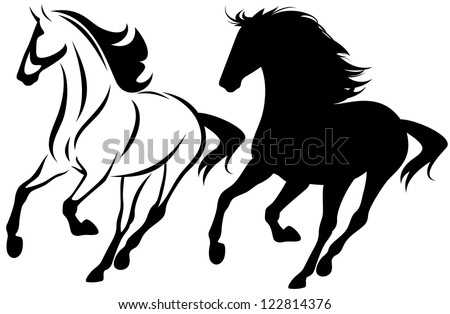 raster - running horse black and white outline and detailed silhouette (vector version is available in my portfolio) - stock photo