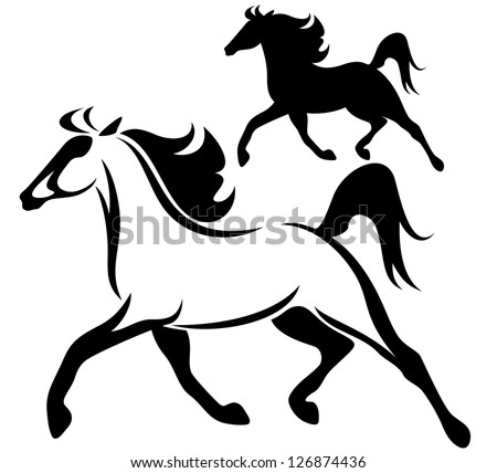 raster - running horse black and white outline and silhouette (vector version is available in my portfolio) - stock photo