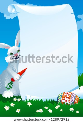 ... funny rabbit with carrots cute hare easter bunny grey cartoon rabbit