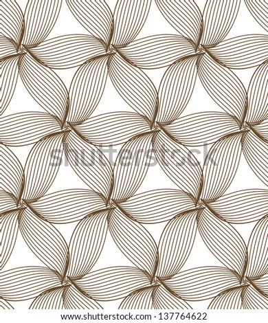 raster seamless brown abstract line floral pattern background - stock photo