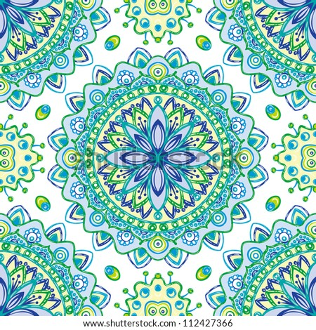 raster seamless colorful floral pattern background - stock photo