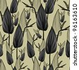 RASTER seamless floral pattern with leafs - stock photo